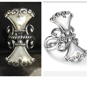 Carolyn Pollack Trumpet Vine SS Mother Pearl Ring